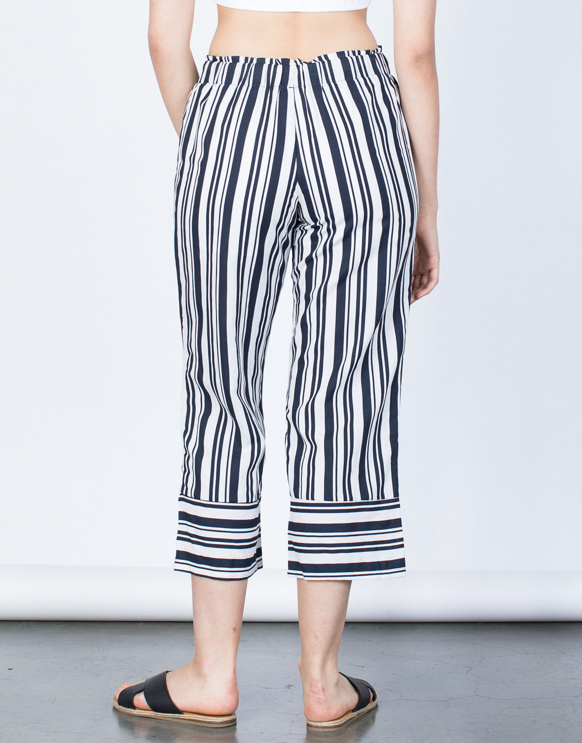 Back View of Bold Striped Culottes