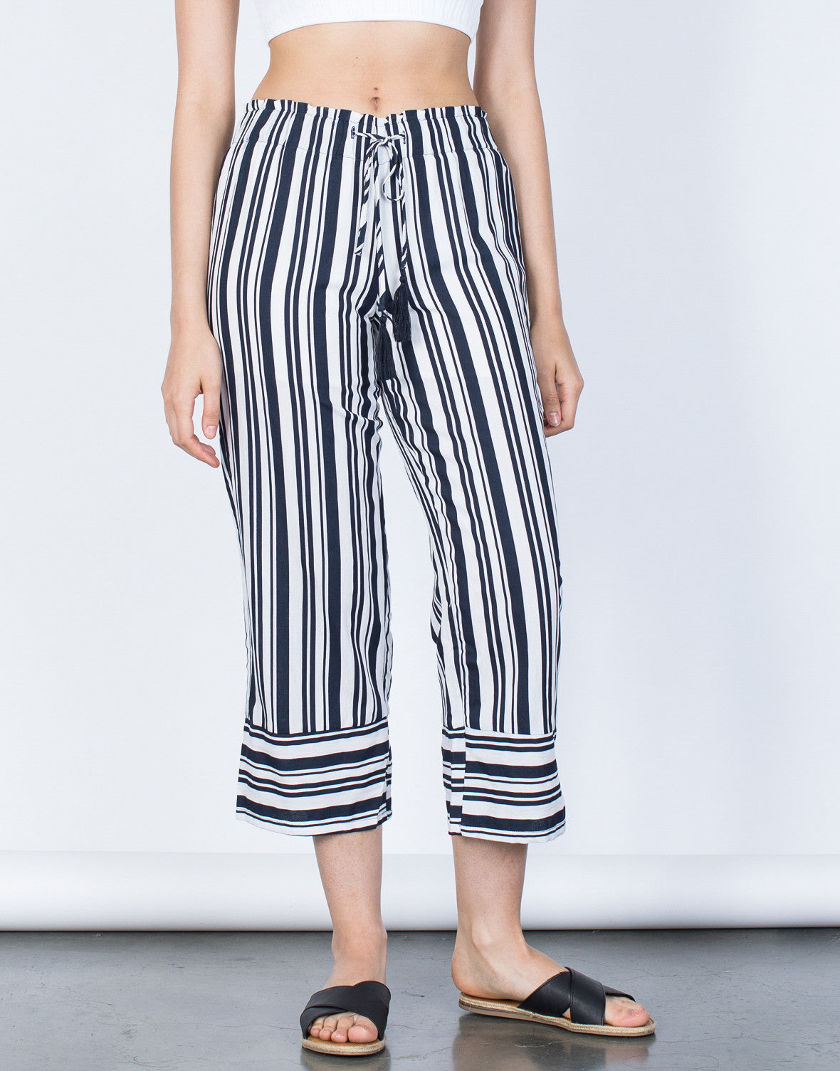 Front View of Bold Striped Culottes