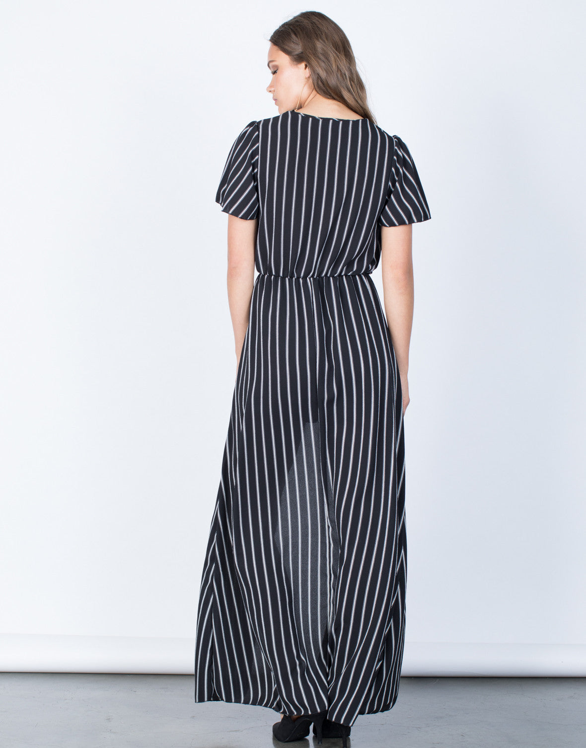 Back View of Bold Striped Maxi Romper