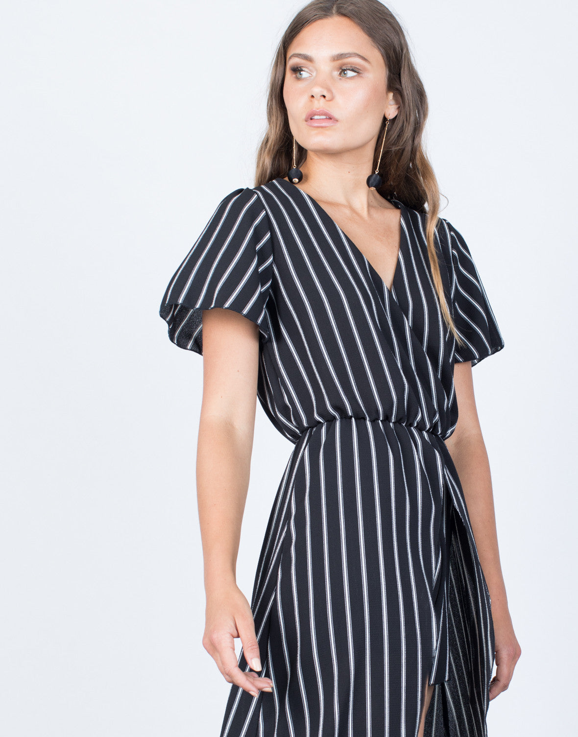 Detail of Bold Striped Maxi Romper