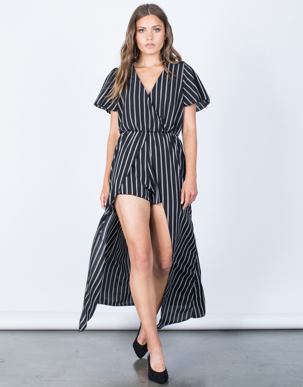 Front View of Bold Striped Maxi Romper