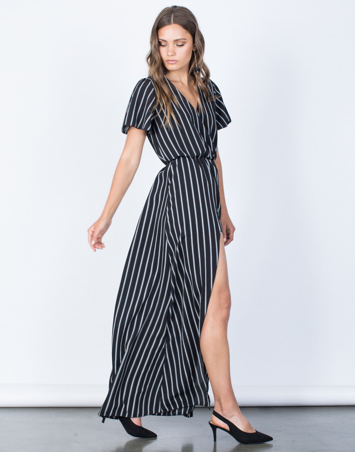 Side View of Bold Striped Maxi Romper