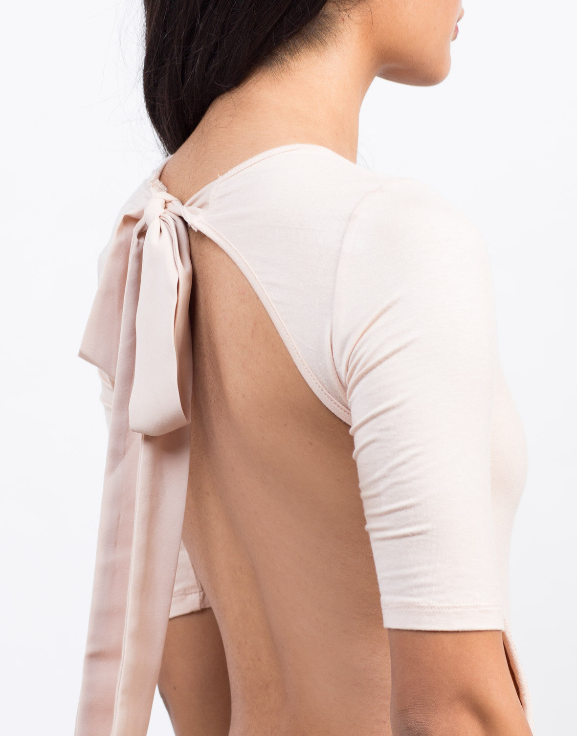 Detail of Front View of Bow Back Bodysuit