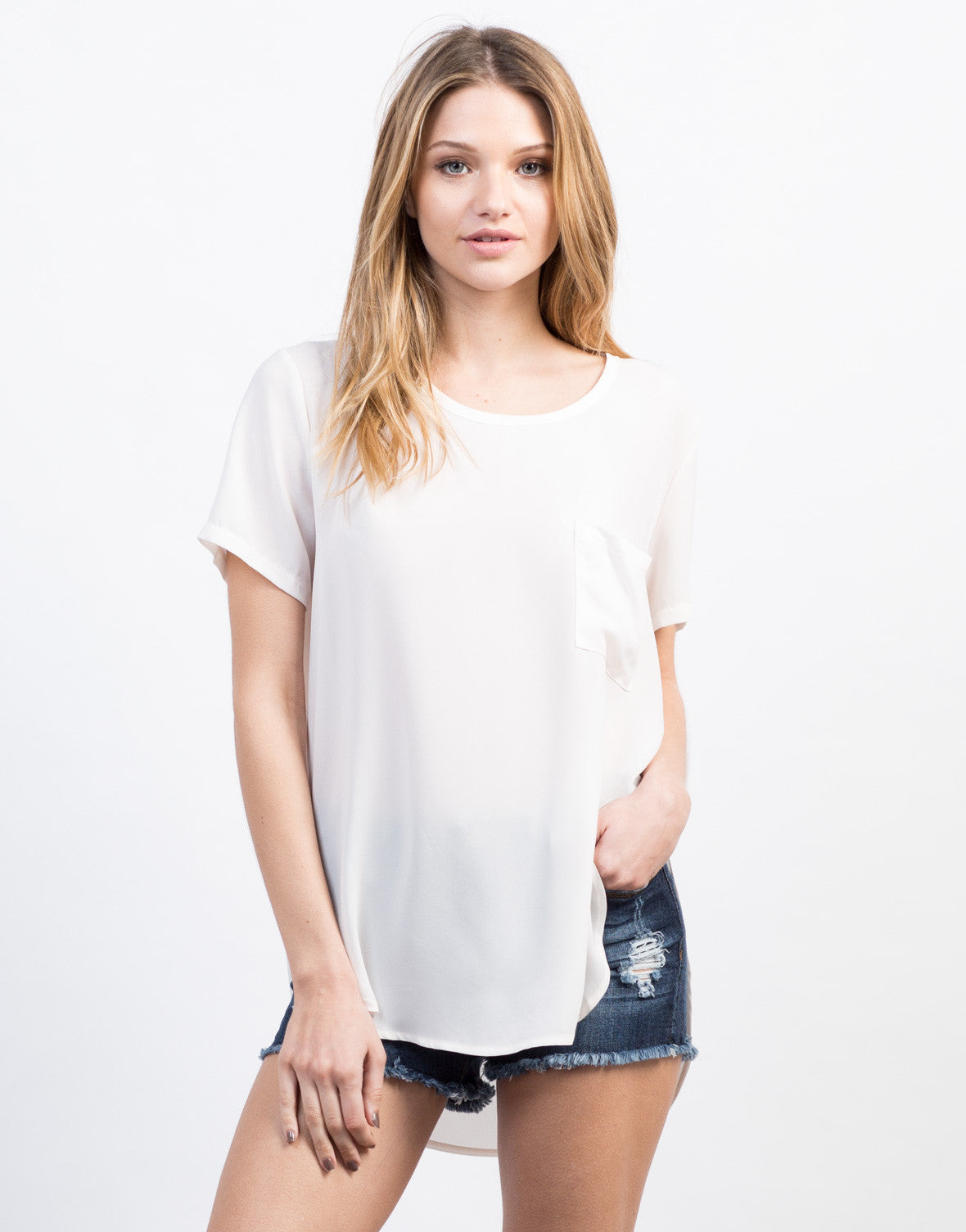 Front View of Boxy Chiffon Top