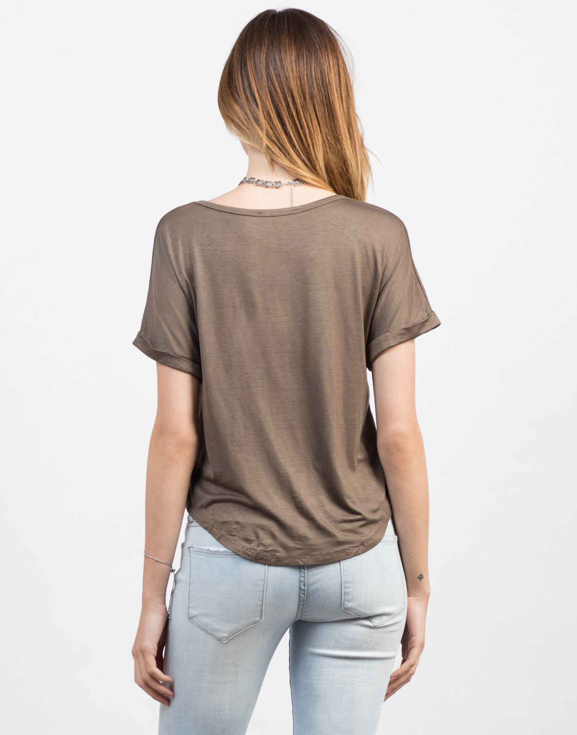 Back View of Boxy Pocket Tee