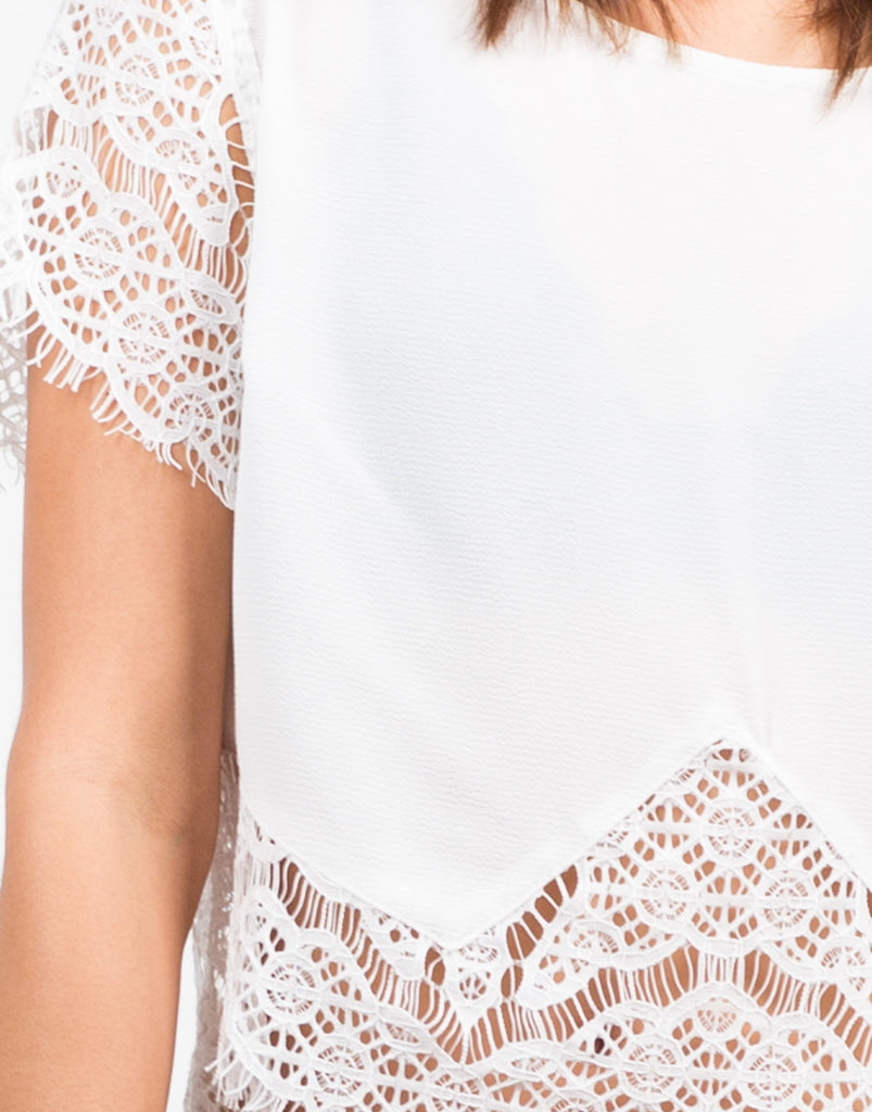 Detail of Boxy Crochet Blouse