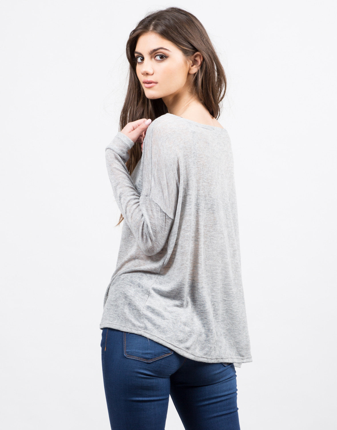 Back View of Boxy Lightweight Sweater Top