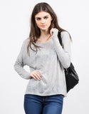 Front View of Boxy Lightweight Sweater Top
