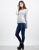 Side View of Boxy Lightweight Sweater Top
