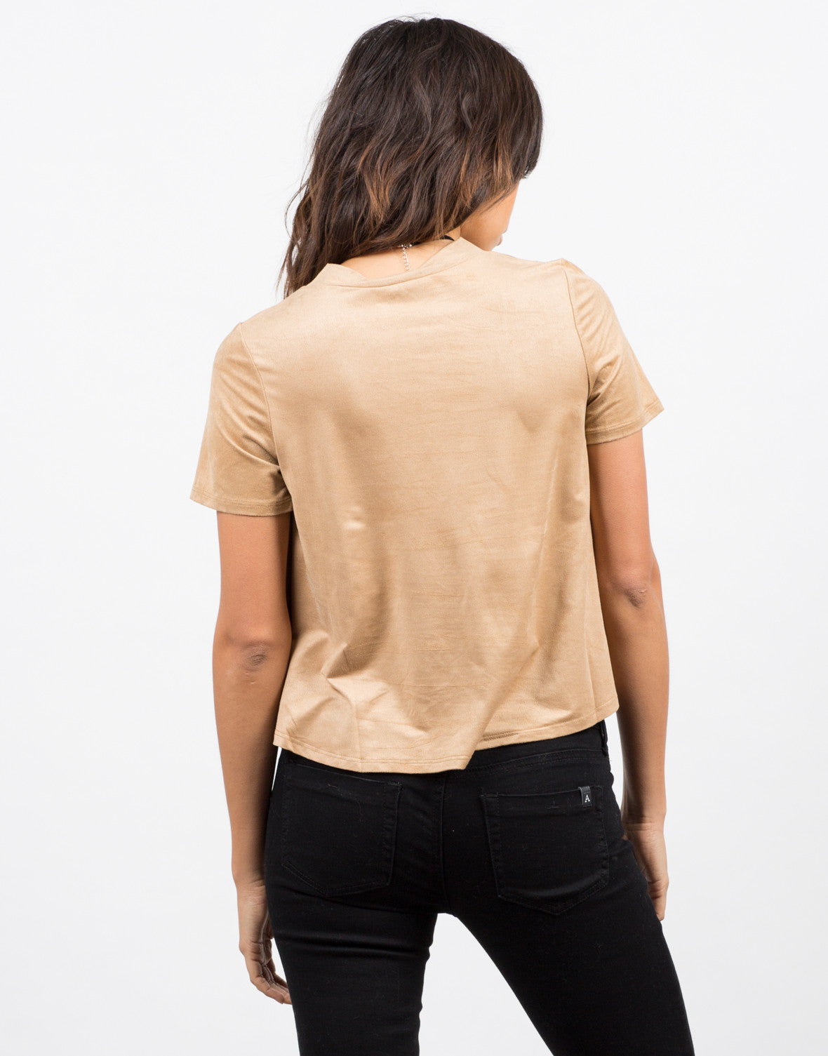 Back View of Boxy Suede Lace Up Tee