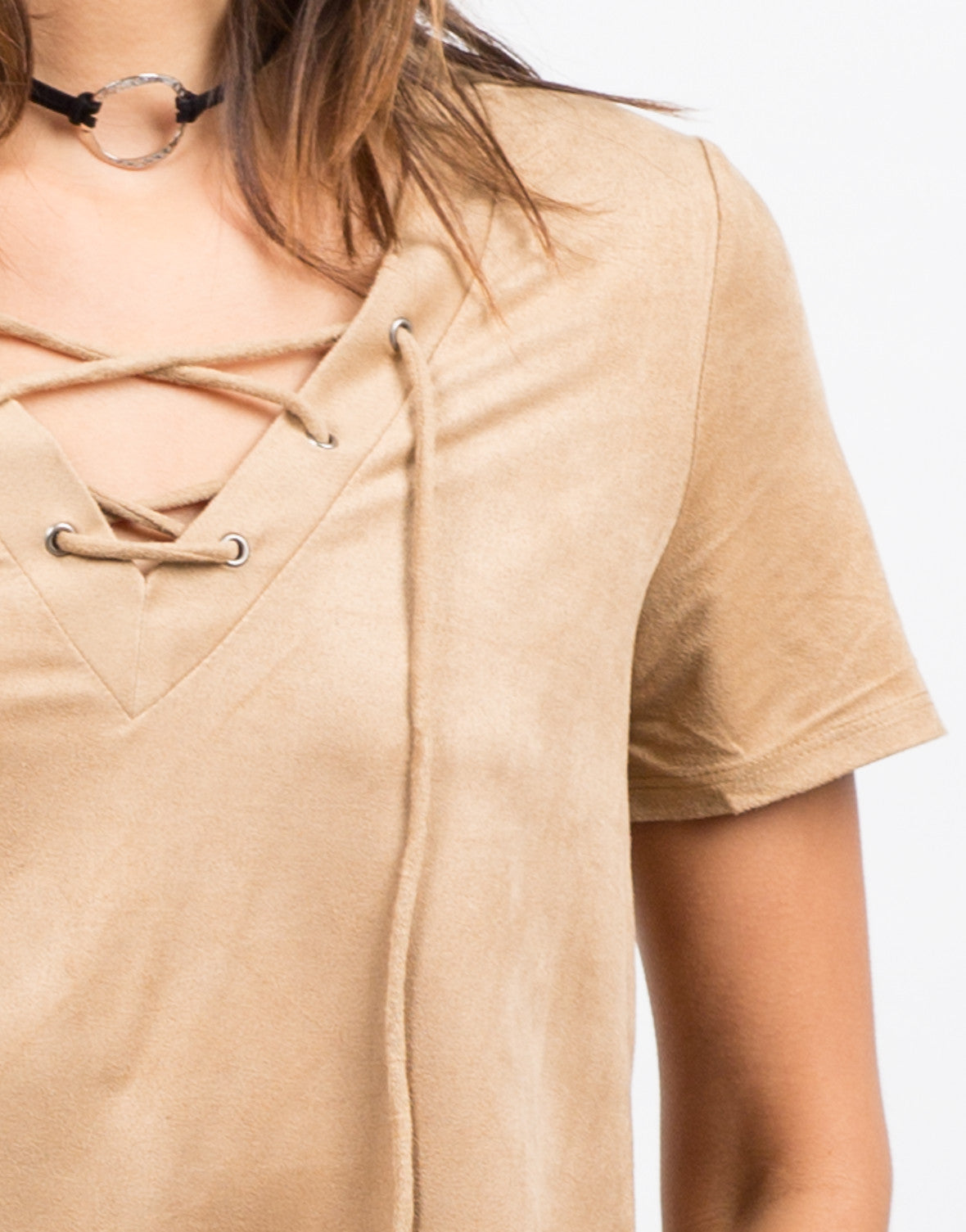 Detail of Boxy Suede Lace Up Tee