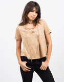 Front View of Boxy Suede Lace Up Tee