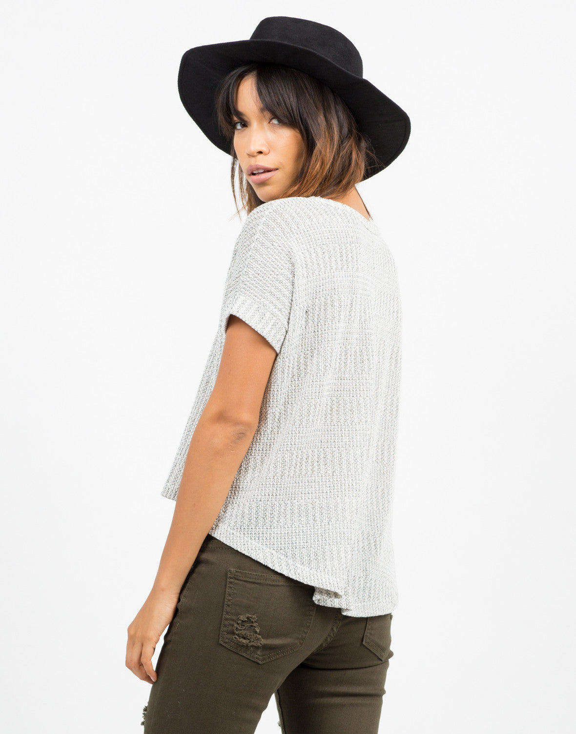 Back View of Boxy Sweater Top