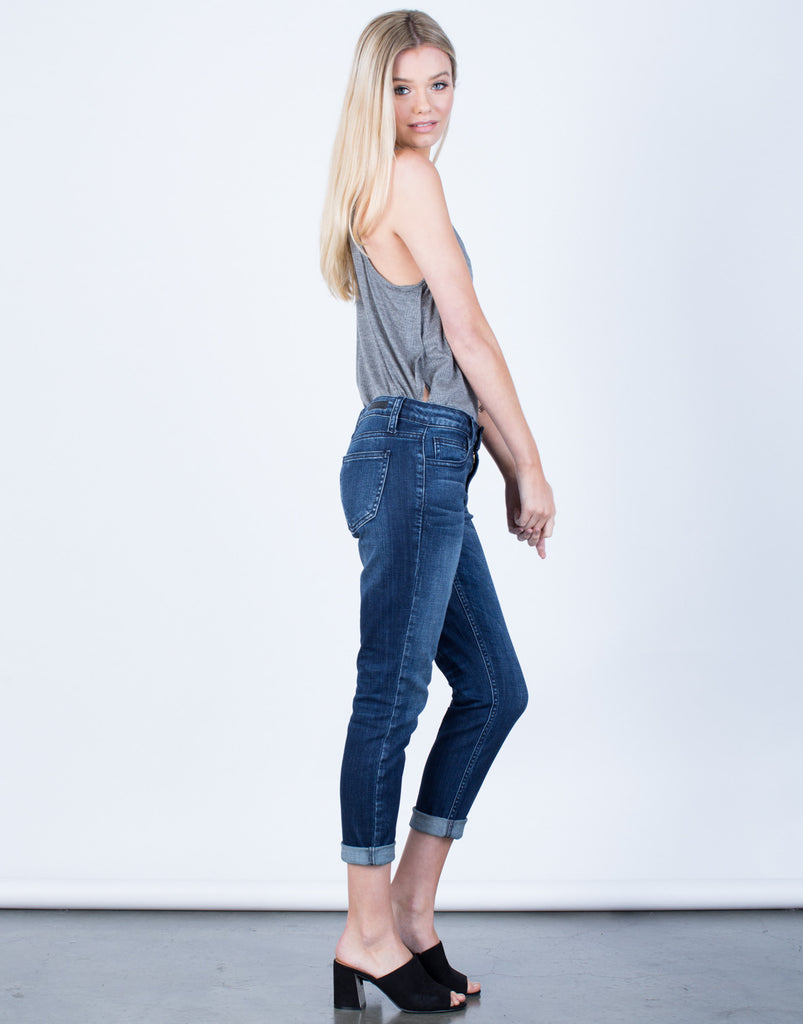 Side View of Boyfriend Capri Jeans