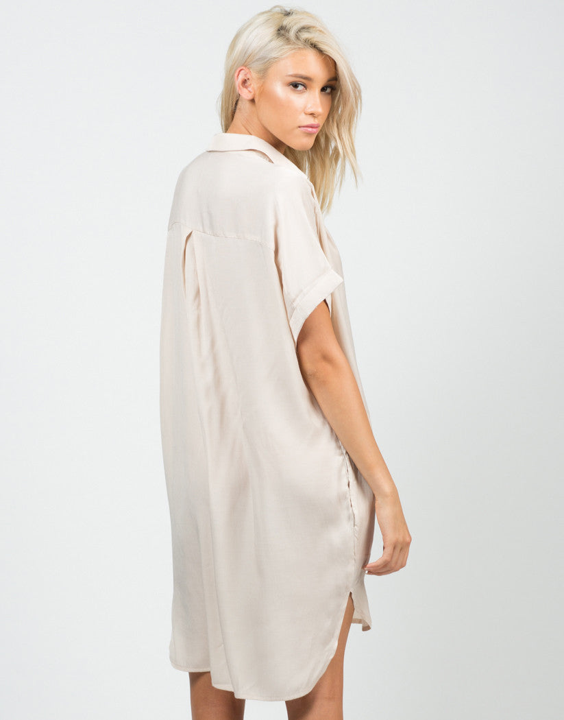 Back View of Boyfriend Shirt Dress