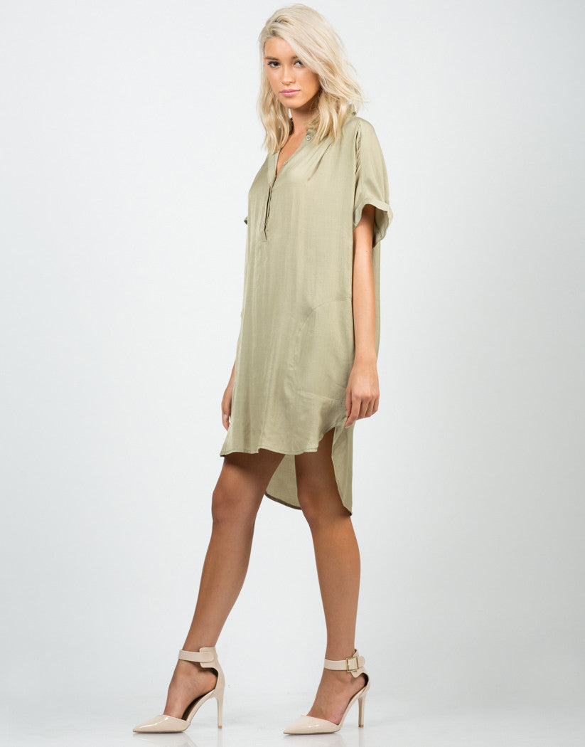 Side View of Boyfriend Shirt Dress