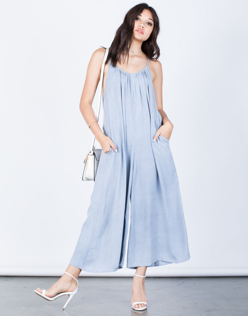 Front View of Breezy Oversized Jumpsuit