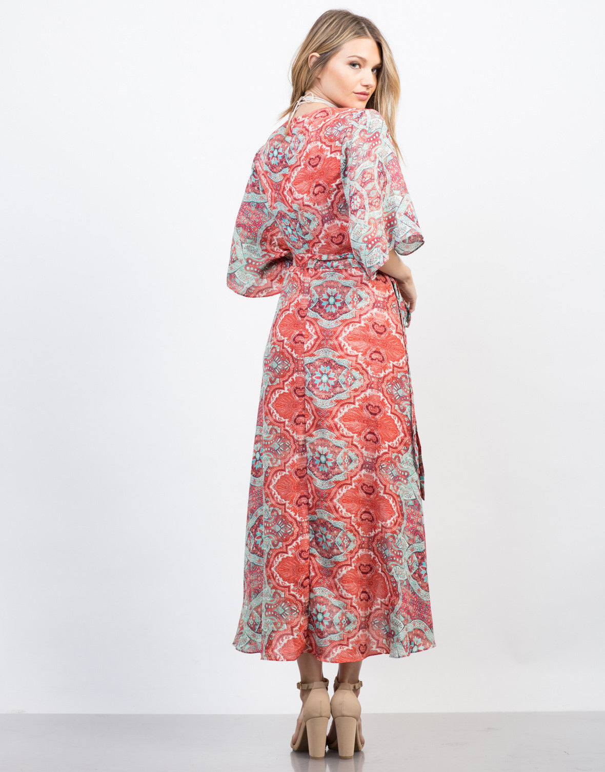 Back View of Breezy Paisley Dress