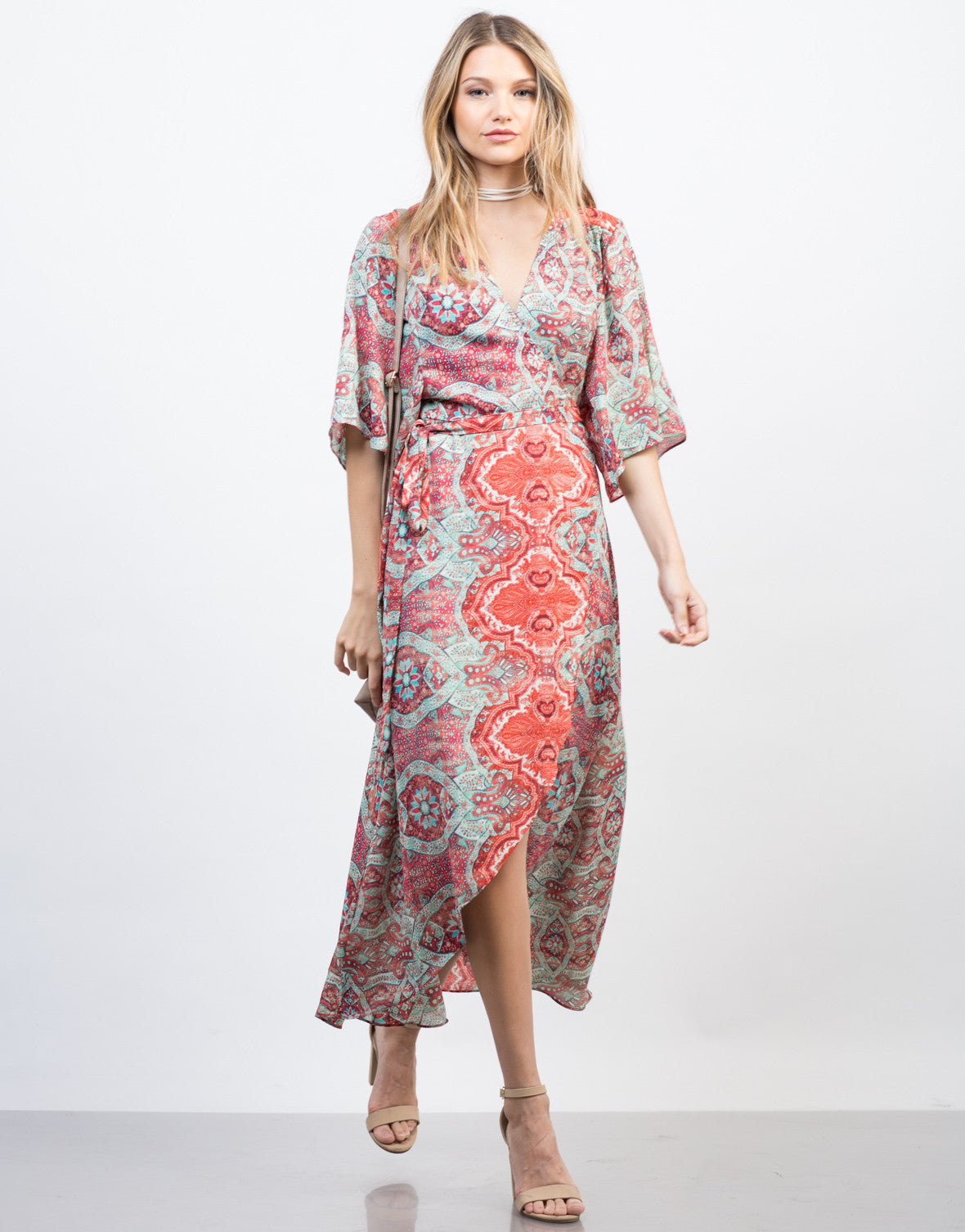 Front View of Breezy Paisley Dress