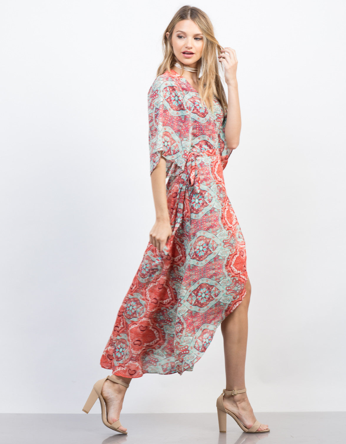 Side View of Breezy Paisley Dress