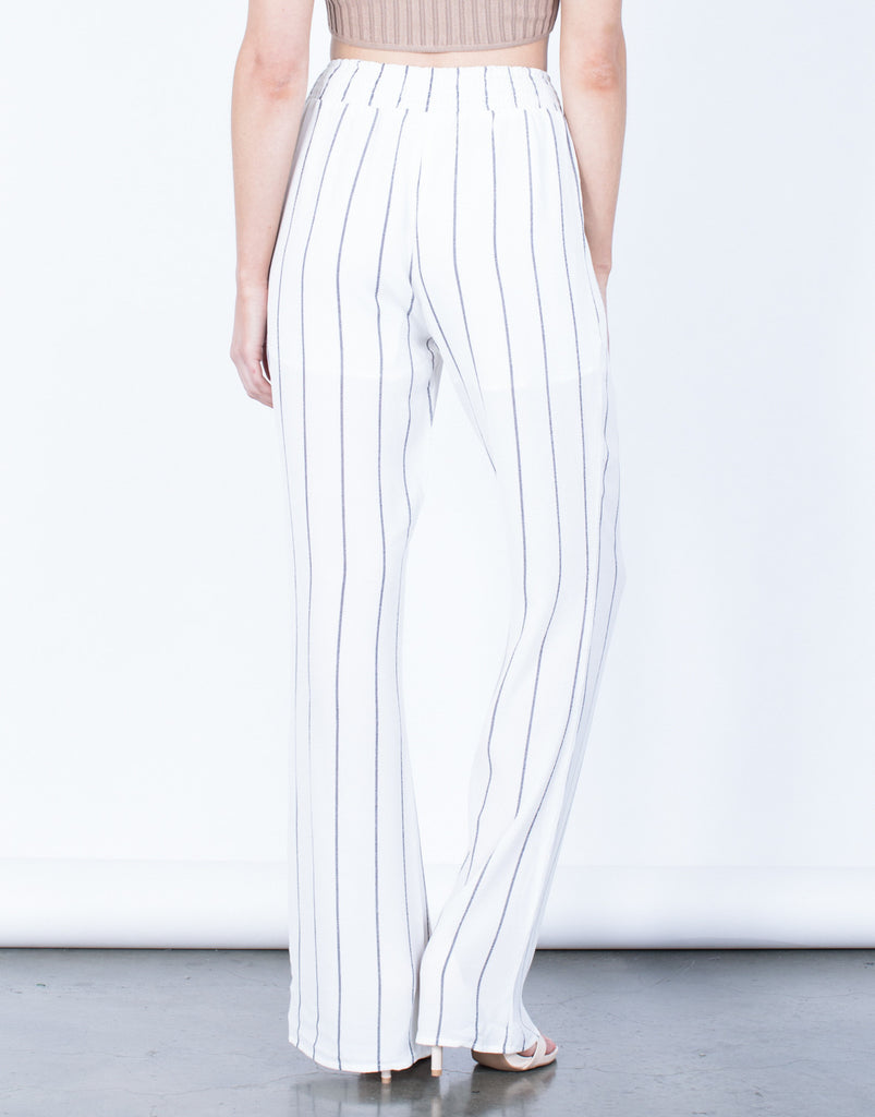 Back View of Breezy Striped Pants