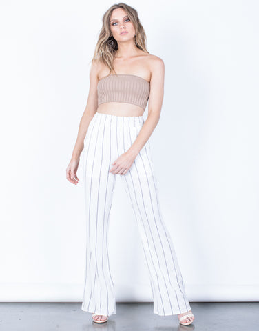 Front View of Breezy Striped Pants