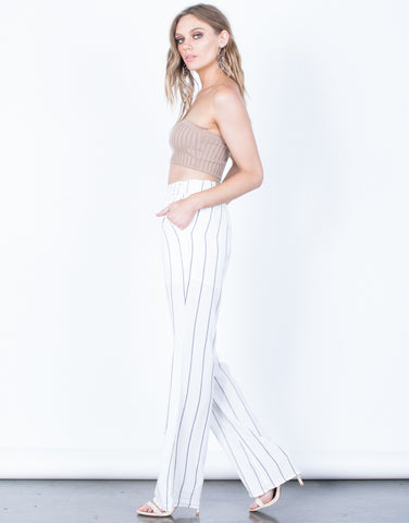 Side View of Breezy Striped Pants