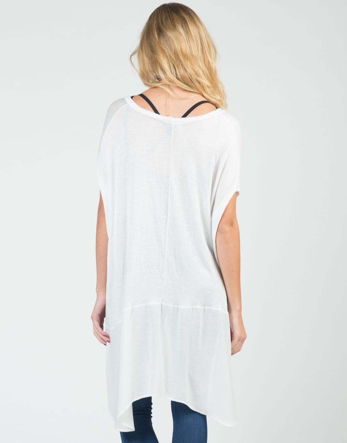 Back View of Breezy Boxy Flowy Tee