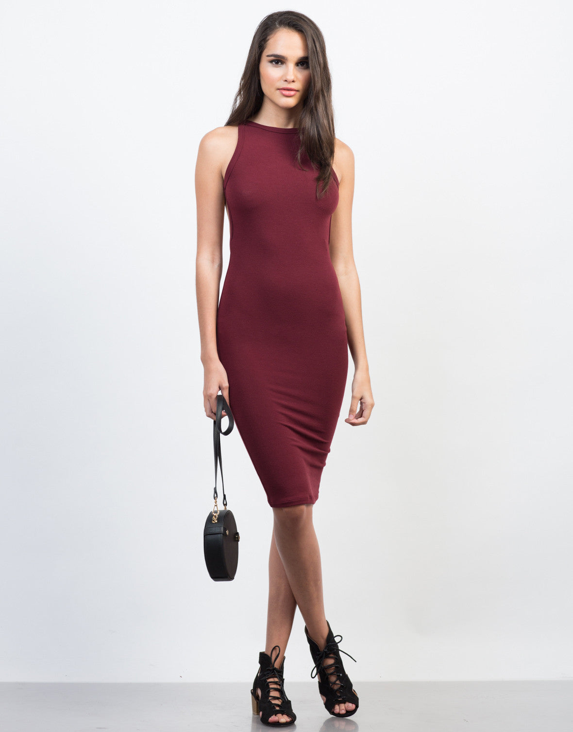 9f8470495b Bringing Open Back Midi Dress - Casual Midi Dress - Bodycon Dress ...