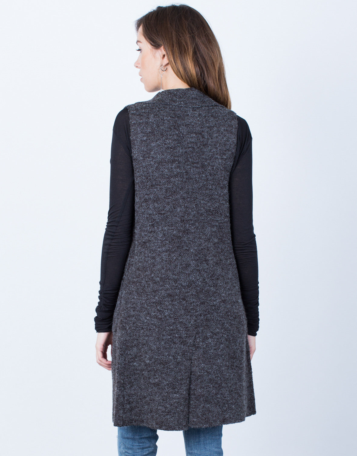 Back View of Brushed Knit Button Vest