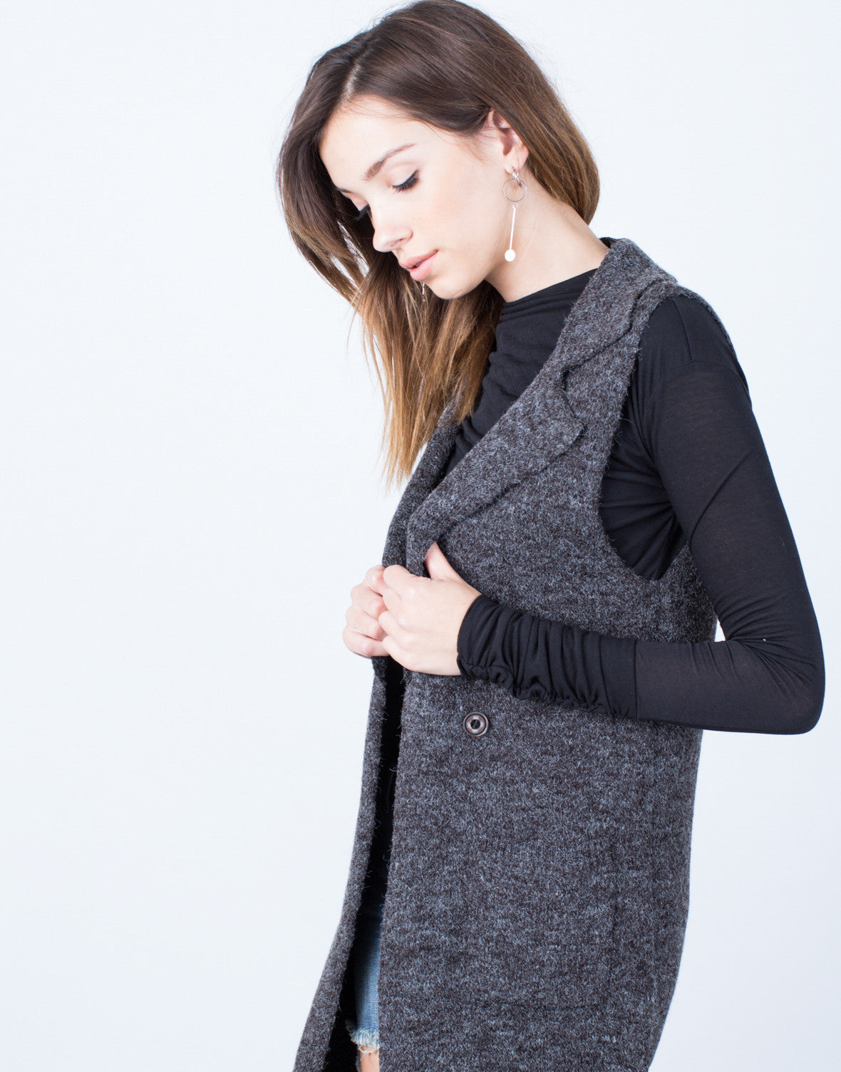 Detail of Brushed Knit Button Vest