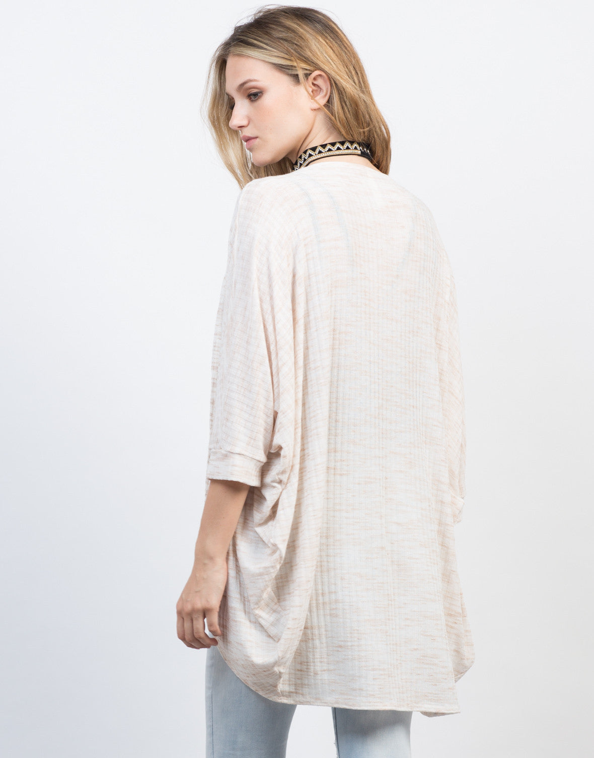 Back View of Brushed Stripe Dolman Cardigan