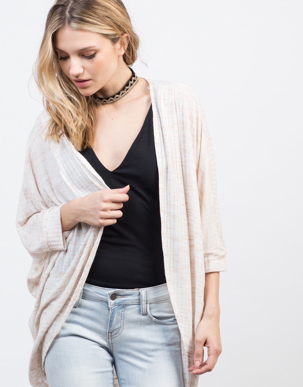 Detail of Brushed Stripe Dolman Cardigan