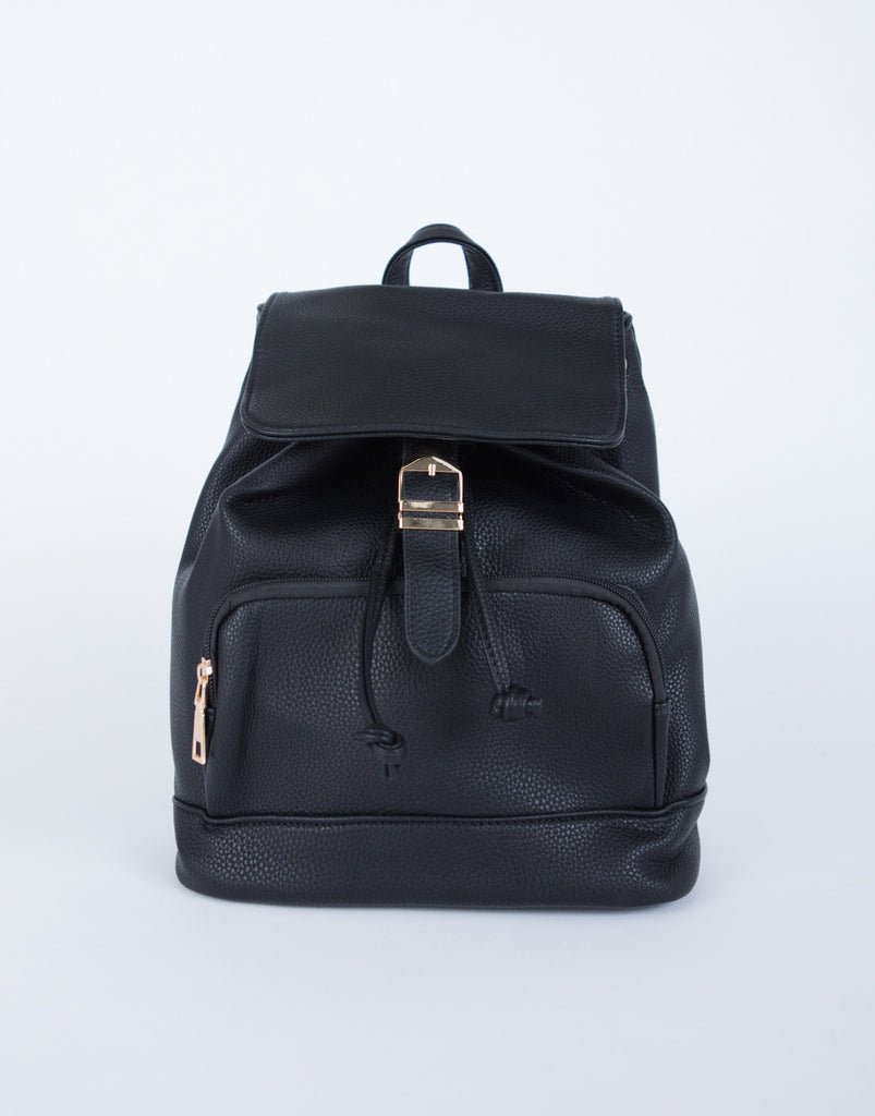 Buckled Leather Backpack
