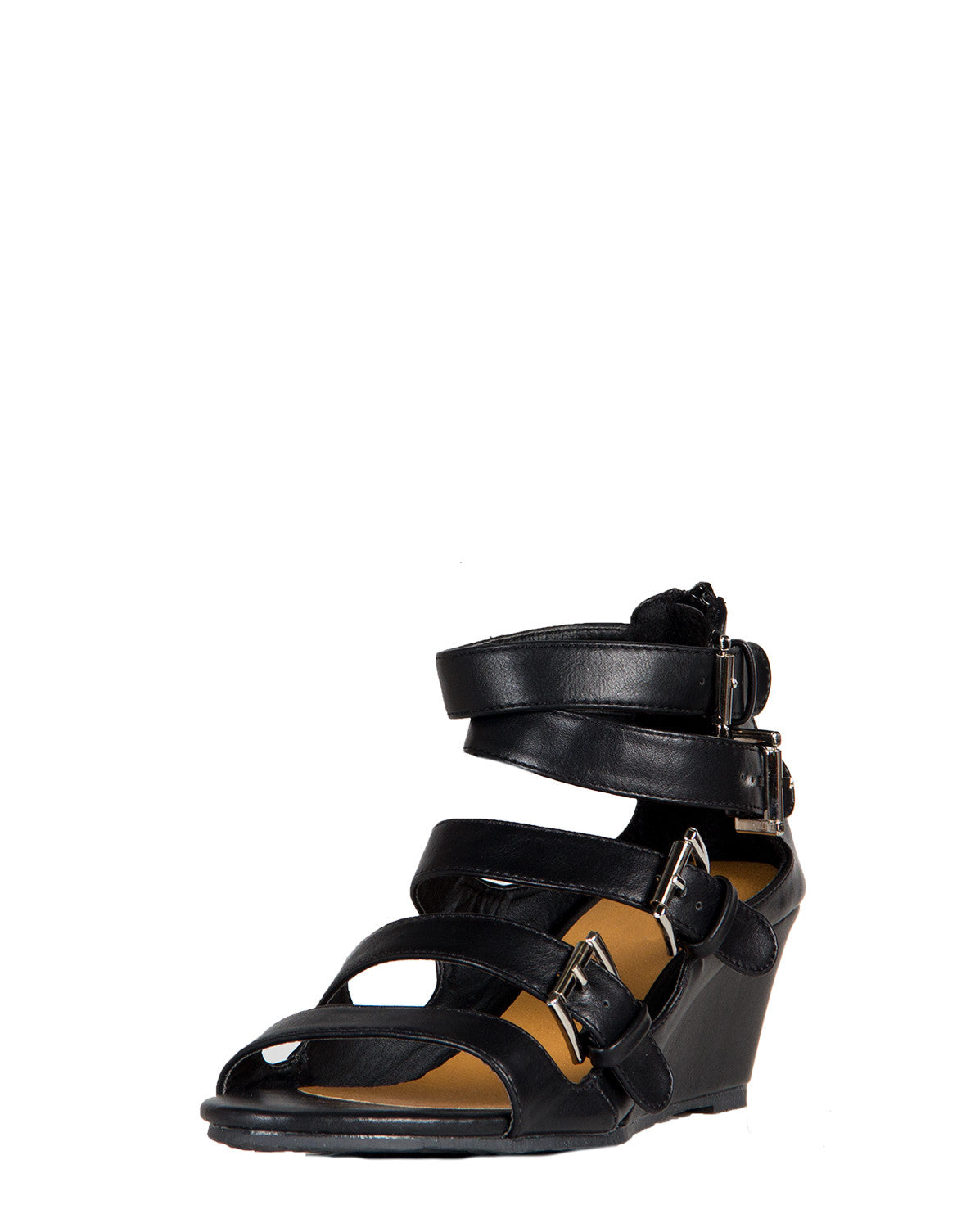 Buckle Down Wedge Sandals - Black