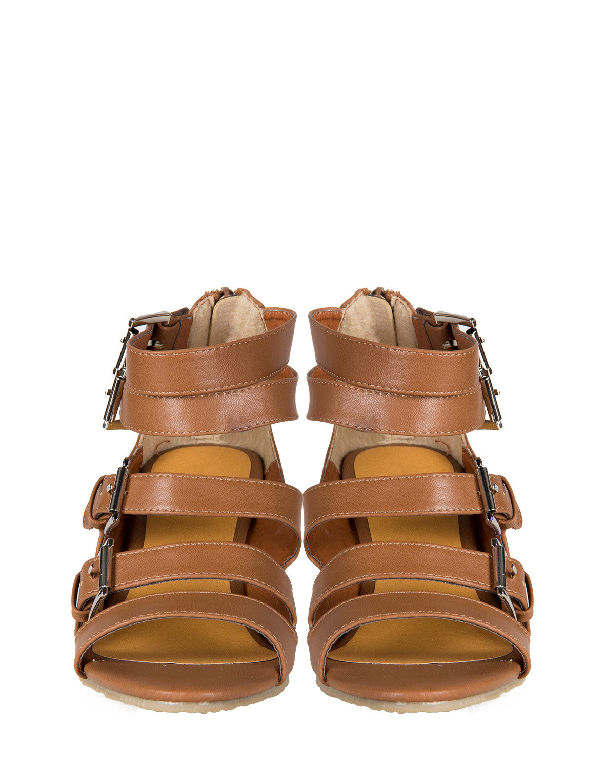 Buckle Down Wedge Sandals - Brown - 8