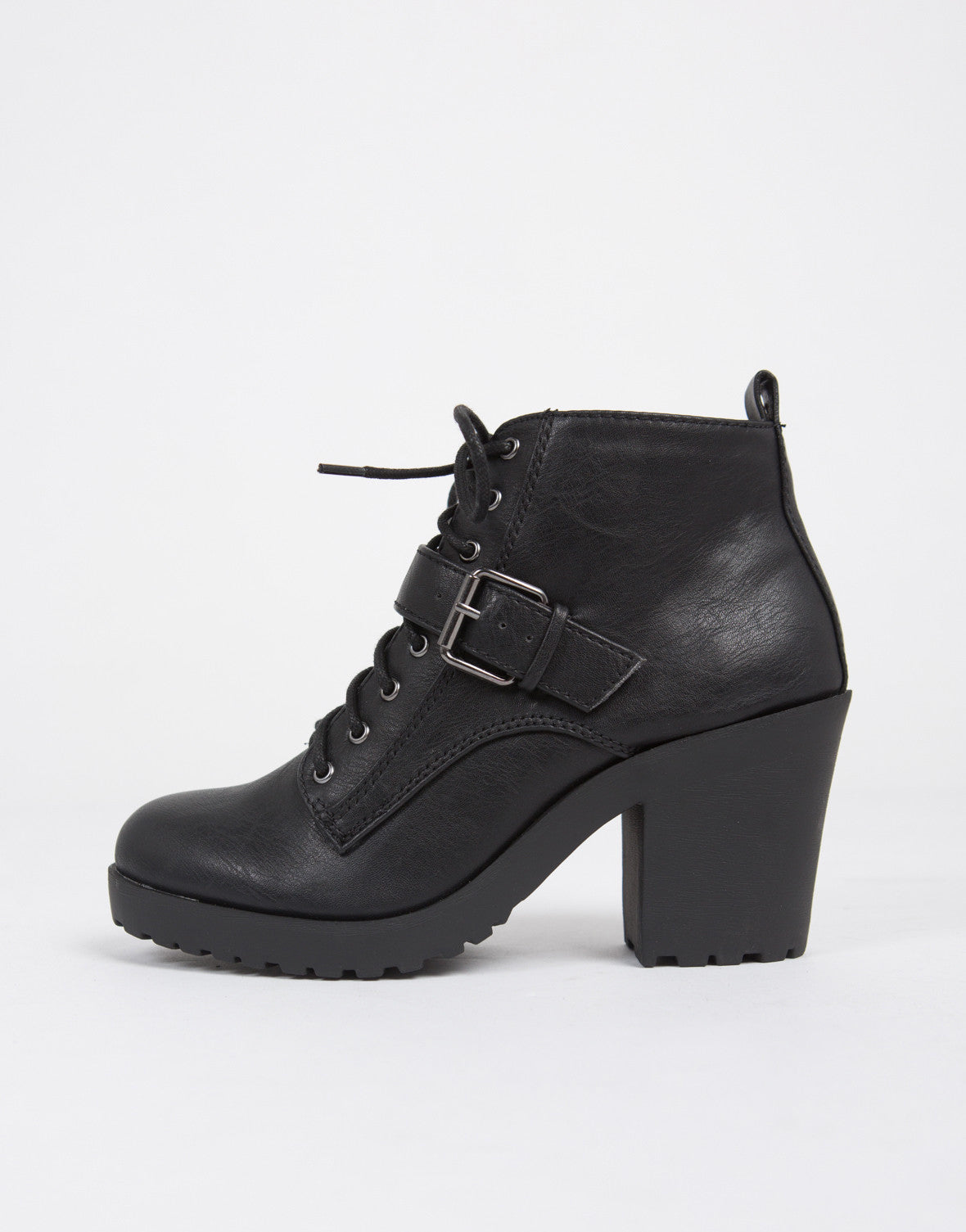 Buckle Up Lace Up Ankle Boots