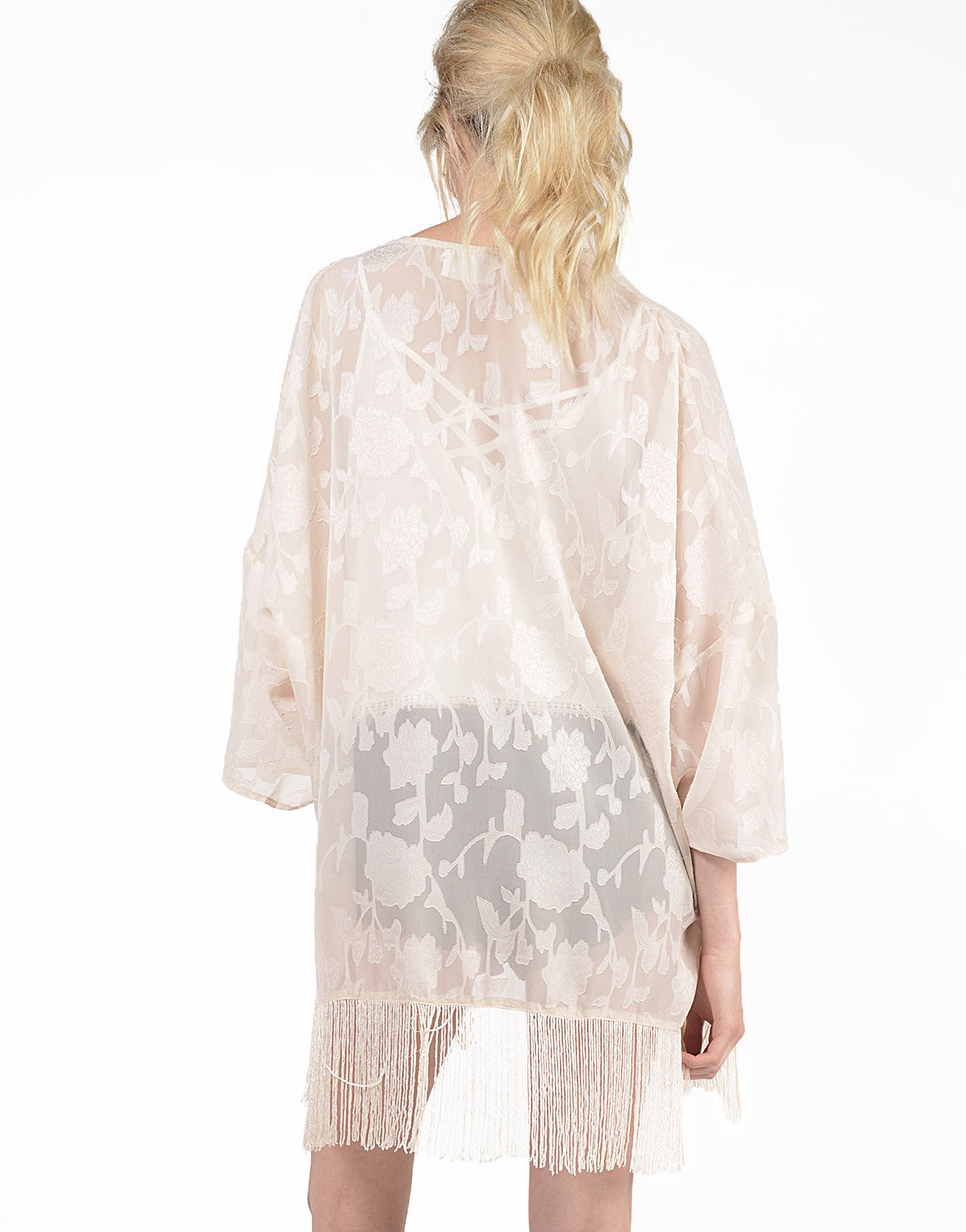 Back View of Burnout Floral Kimono