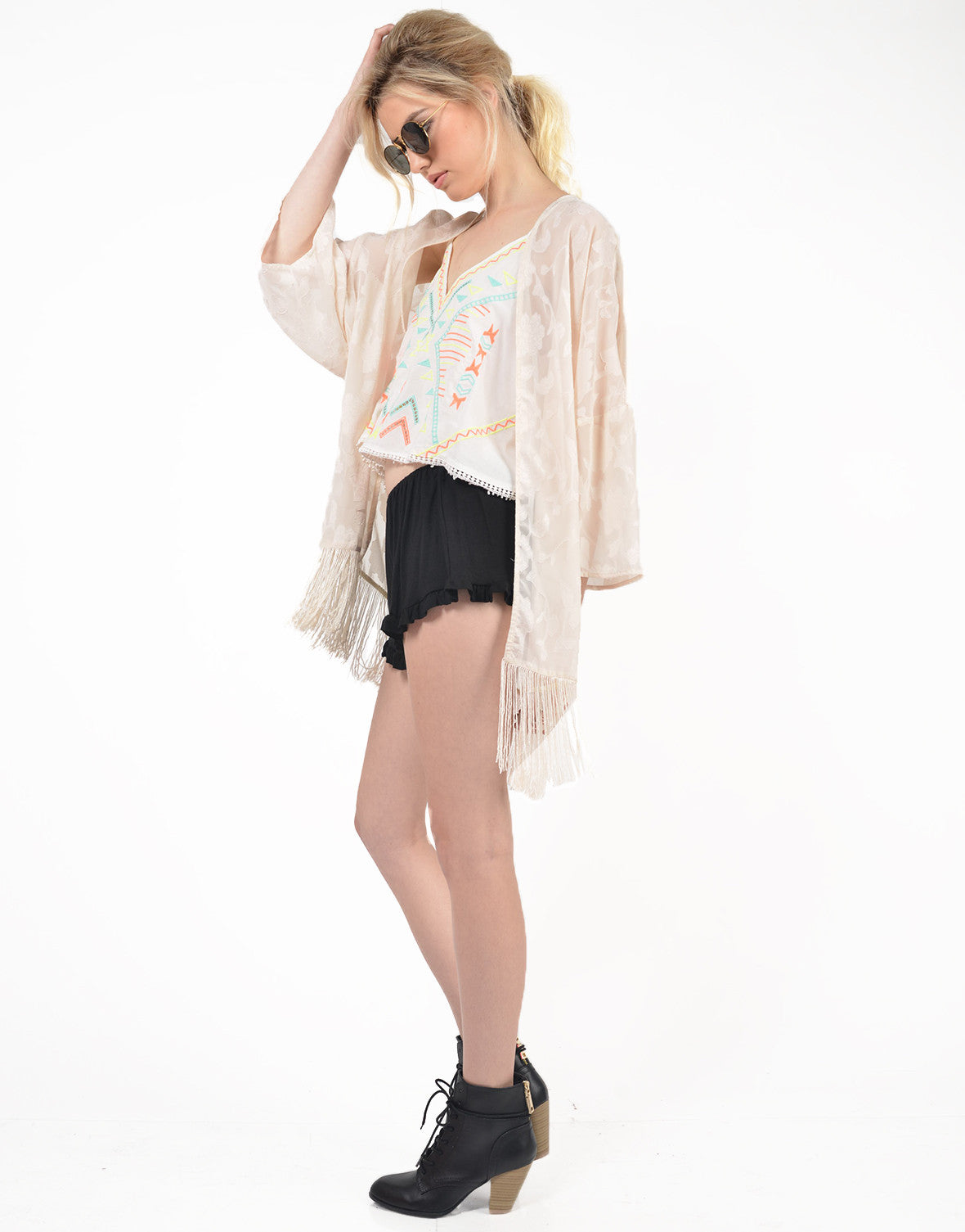 Side View of Burnout Floral Kimono