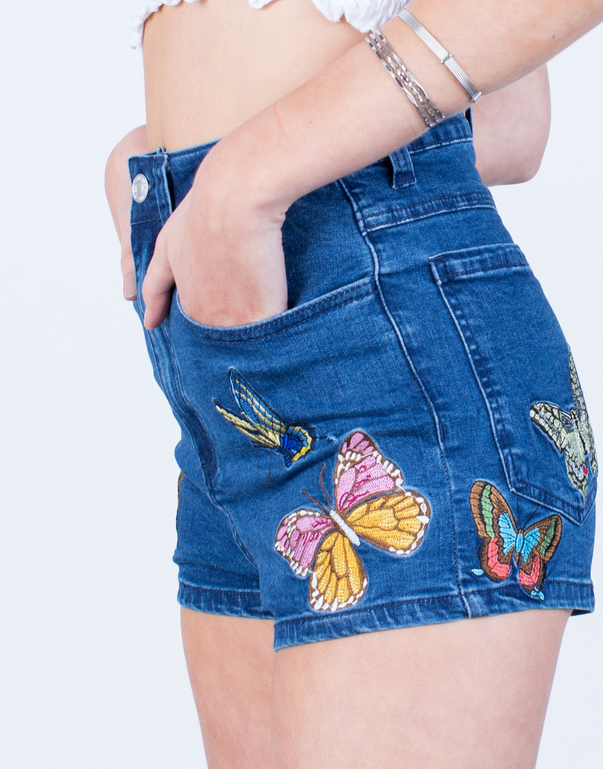 Detail of Butterfly Patched Denim Shorts