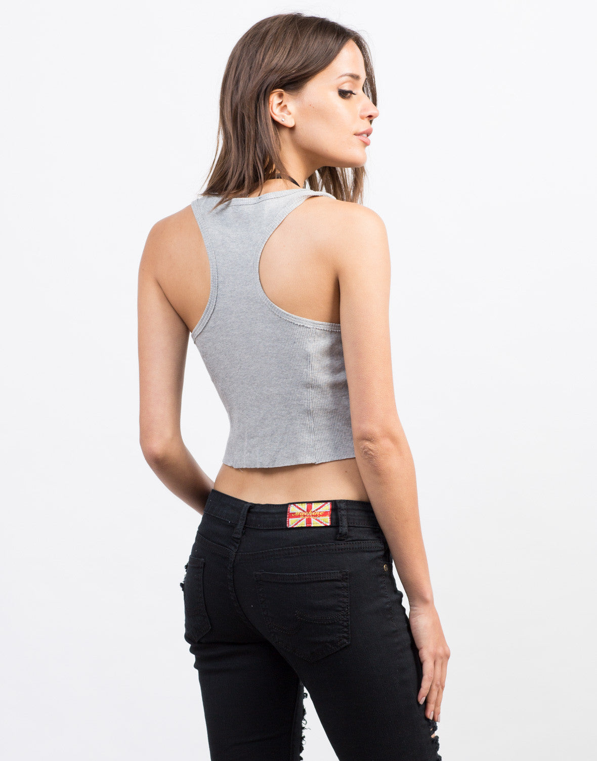 Button Cropped Tank