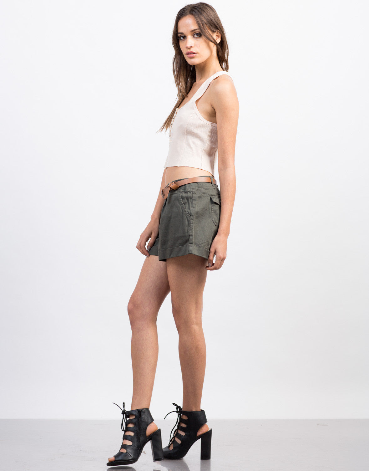 Side View of Button Cropped Tank
