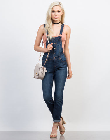 Button Denim Skinny Overalls