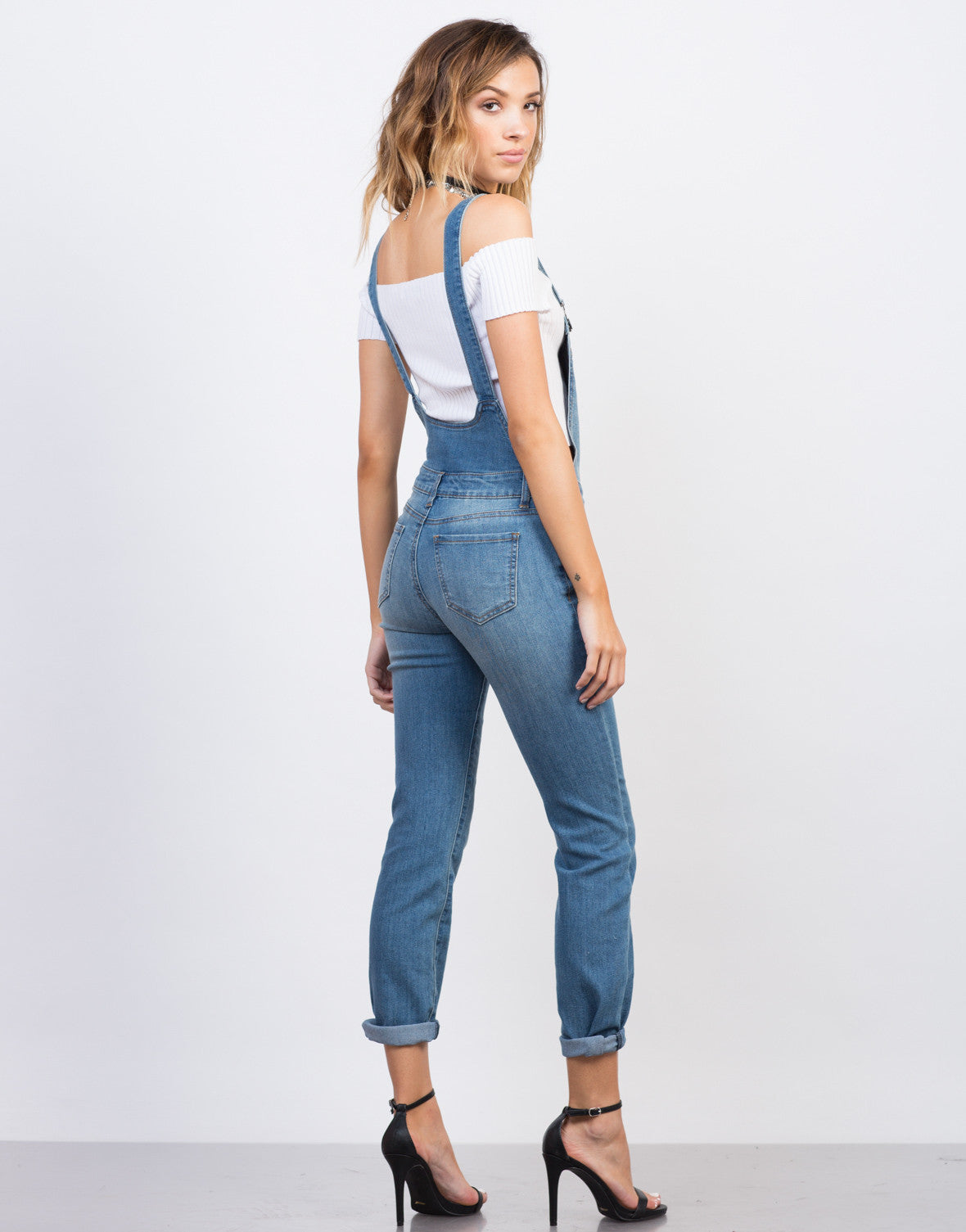 Back View of Button Denim Skinny Overalls