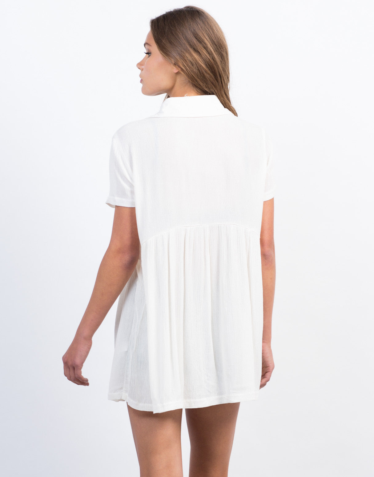 Back View of Button Down Babydoll Shirt Dress