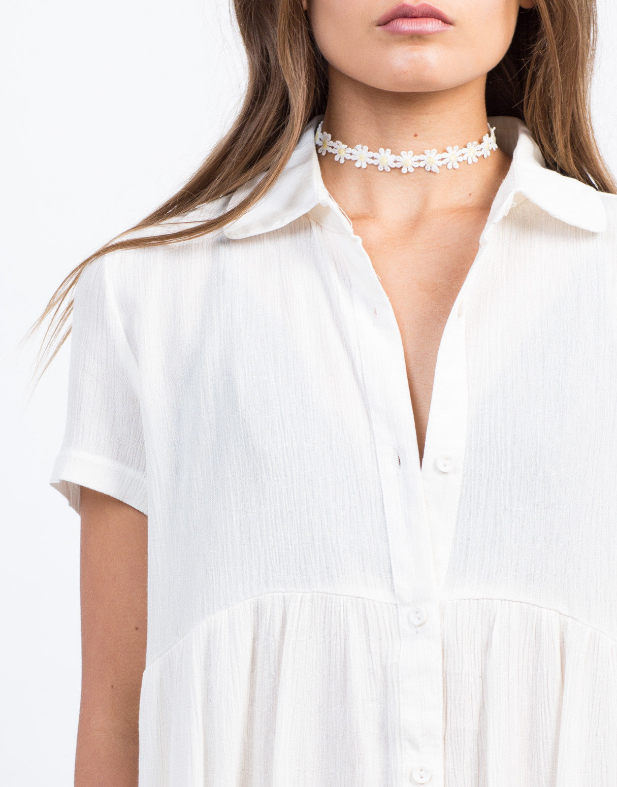 Detail of Button Down Babydoll Shirt Dress