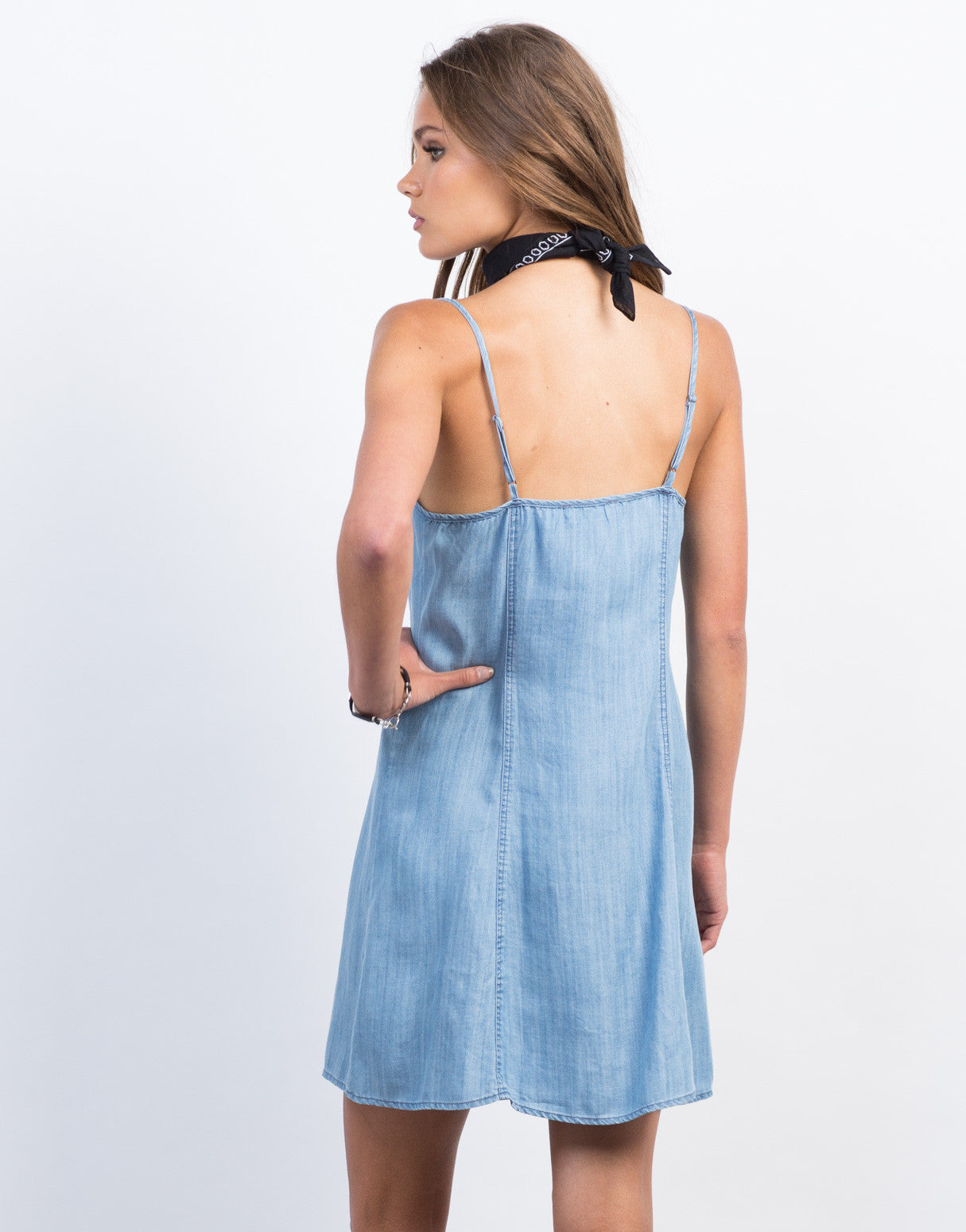 Back View of Button Down Chambray Dress