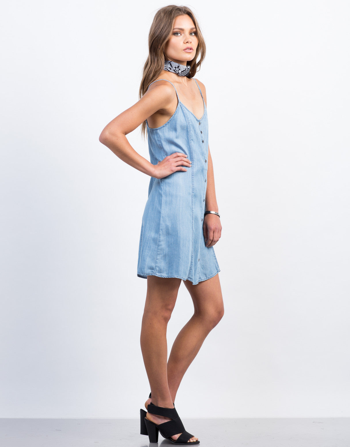Side View of Button Down Chambray Dress