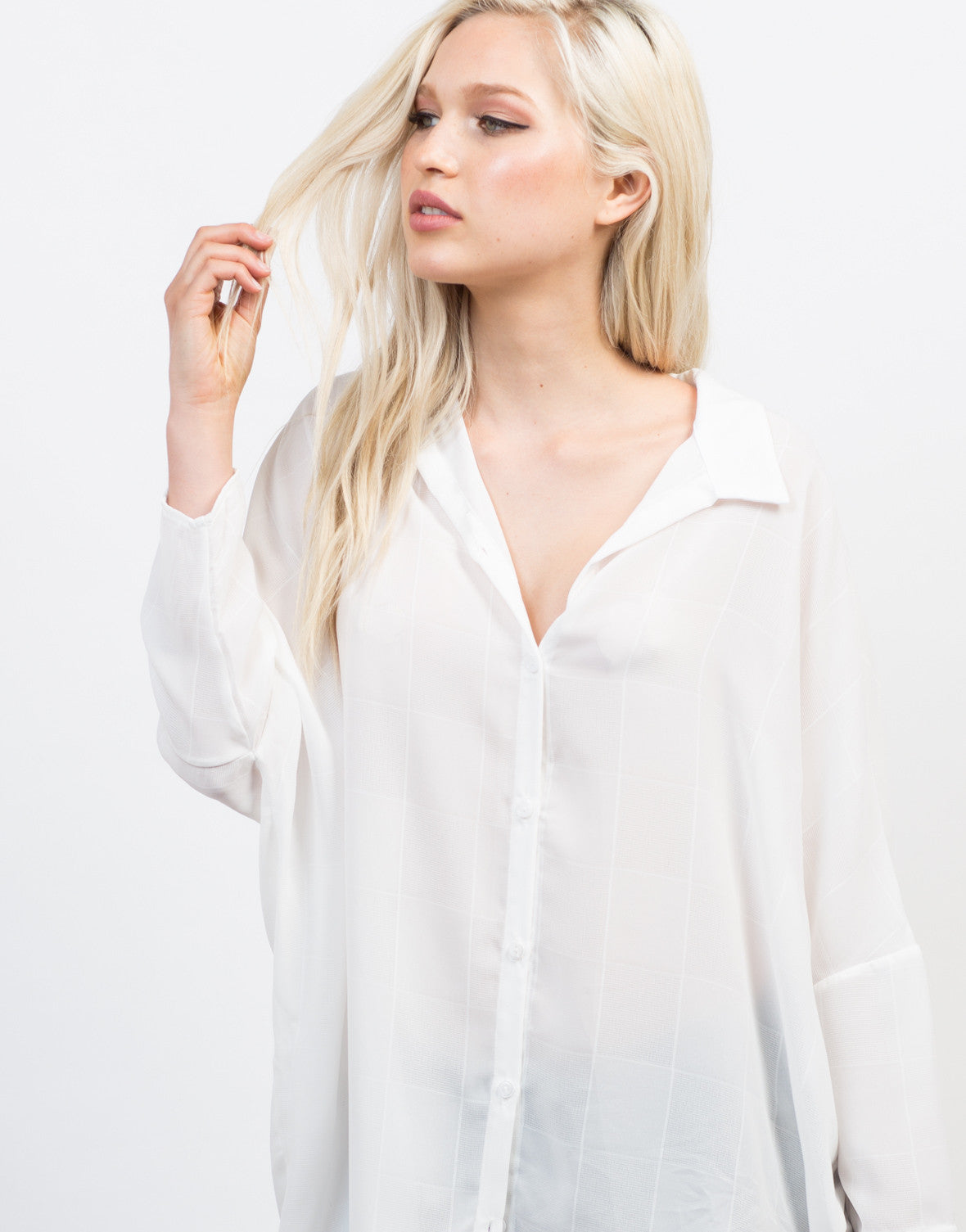 Detail of Button Up Boyfriend Blouse