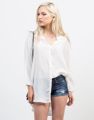 Front View of Button Up Boyfriend Blouse